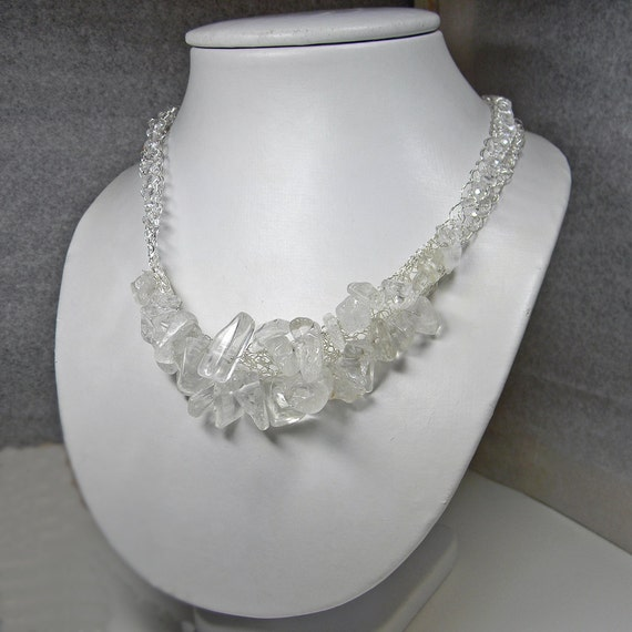 Wire Crochet Rock Crystal Quartz Statement Necklace Handmade - Clubbing - Trendy - Birthday - Mineral