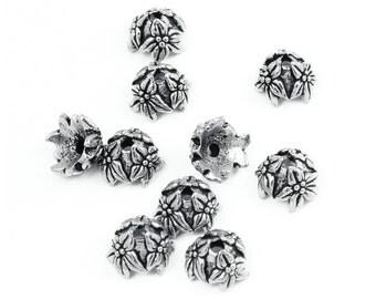 Silver Bead Caps 10 Jasmine Flower Beadcaps Antique Silver Floral TierraCast  (PC19)