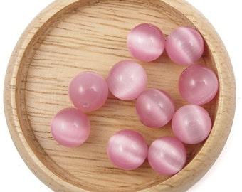 "1 Strand 10mm Cats Eye Beads Pink Fiber Optic Beads Candy Pink Beads 10mm Round Beads - 15"" Strand"