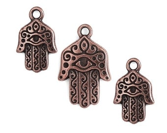 Hamsa Hand Pendant Charms Set of 3 Antique Copper Pendants Charms TierraCast Yoga Charms Chamsa Hamsa Charms Copper Charms Mindfulness