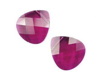 15mm Ruby Swarovski Briolettes - 6012 Series - 15mm x 14mm Flat Briolette Pendant Beads - Dark Pink Swarovski Crystals