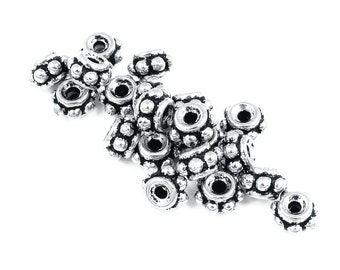 TierraCast 5MM BEADED Antique Silver Beads - Silver Bali Bead Spacers Heishi Metal Beads (PS41)
