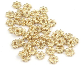 50 Gold Beads - 5mm Bright Gold Flat Daisy Spacer Beads - TierraCast 5mm Beaded Beads - Gold Heishi Metal Beads (PS27)