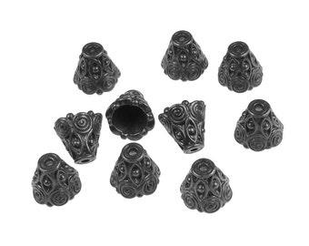 TierraCast SPIRAL CONE Black Oxide Bead Cap - Gunmetal Gun Metal Beadcaps - Tierra Cast Pewter Bali Caps (PBC5)