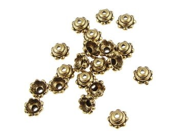 TierraCast 5MM BEADED Antique Gold Bead Caps - Small Gold Beadcaps (PC6)