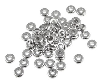 50 RHODIUM Silver Beads - 4mm Disk Beads - Bright Rhodium Heishi Spacer Washer Beads by TierraCast (PS275)