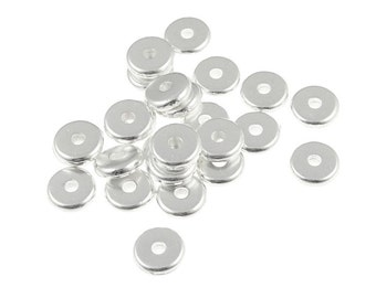 100 Silver Beads 6mm Disk Beads - Bright Silver Washer Beads - TierraCast Pewter Heishi Spacer Beads - Flat Disk Silver Metal Beads (PS283)