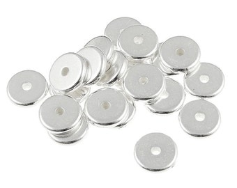 20 8mm Disk Heishi Beads Bright Silver Beads Spacer Beads Heishi Washer Beads TierraCast Pewter Metal Beads (PS295)