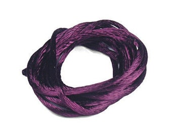 Purple Plum Rattail Cord 6 Yards 1mm Satin Rattail Cord - Radiant Orchid - USA Made Cotton/Rayon Blend Kumihimo Supplies
