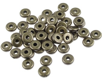 50 Disk Beads 5mm Antique Brass Beads - Spacer Washer Beads Brass Oxide TierraCast Pewter Metal Beads - Bronze Heishi Beads (PS280)