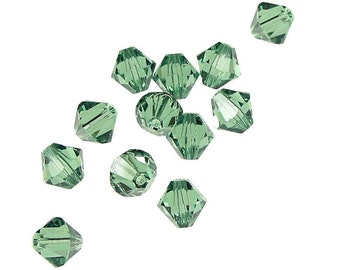 12 ERINITE 6mm Swarovski Crystal Elements Bicones - Article 5301 5328 6mm Bicone Beads - Moss Green Beads Prairie Green