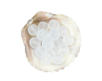 Iced White Beads 50 White 6mm Czech Glass Frosted Seaglass Beach Style Round Beads Beachglass Style Beach Beads Look Beads