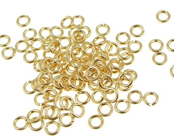 100 4mm Gold Jumpring Findings Gold Plated 19 Gauge 19g Gold Jump Rings -  Gold Findings (FS76)