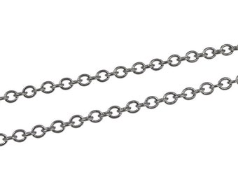 36 Inches of Gunmetal Chain - 2mm Round Cable Chain - Gun Metal Chain Loose Chain Necklace Chain for Jewelry and Crafts (FSGMC10)