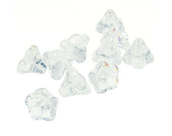 10 Crystal AB Glass Flower Beads 11mm x 13mm Czech Glass Jablonex Bell Flower Beads - Czech Glass Beads