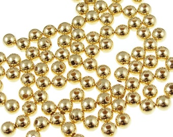 100 Gold Beads - 4mm Gold Ball Beads - Gold Plated Round Beads - Spacer Beads - Gold Metal Beads (FS92)