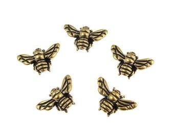 20 Antique Gold Honeybee Beads TierraCast Pewter Gold Honey Bee Metal Beads (P130)
