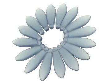 50 ICED MONTANA BLUE Briolette Beads - 16mm x 5mm Dagger Czech Glass Frosted Seaglass Beach Glass Style Beads