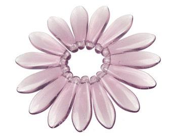 50 LIGHT AMETHYST PURPLE Briolette Beads - 16mm x 5mm Dagger Czech Glass Beads Lilac Lavender Beads