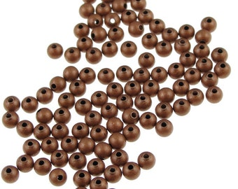 100 3mm Round Beads Antique Copper Beads Copper Ball Beads Solid Copper Aged Oxidized Spacer Beads (FSAC2)