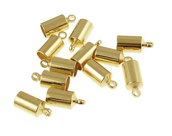 Kumihimo Caps 12 Gold Plated 4mm Cord End Caps Kumihimo Supplies (KH26)