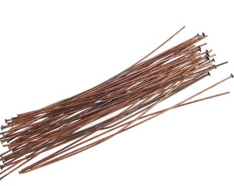 "48 3"" Antique Copper Headpins 22 Gauge 22g Solid Copper Aged Copper Head Pin Findings Copper Jewelry Findings (FSAC31)"