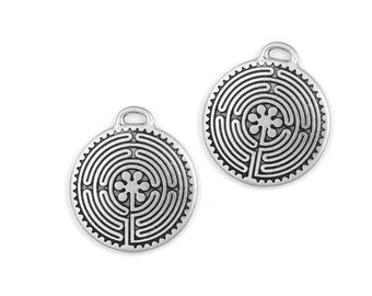Labyrinth Pendants - Antique Silver Pendants - Chartres Cathedral Labyrinth Design - TierraCast Pewter Silver Metal Beads Charms (P866)