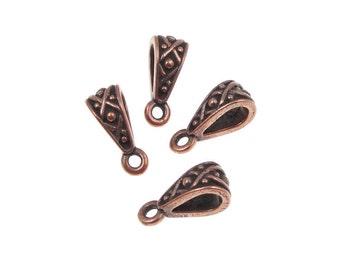 Copper Necklace Bails - TierraCast LEGEND Bails - Antique Copper Bail Findings - 13mm Tall - Pendant Bails Jewelry Bails (PF215)