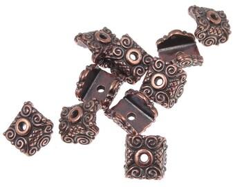 Flat Bead Caps Antique Copper Beadcaps for Lentils Mirage Beadcaps TierraCast Pewter Pendant Caps (PC79)