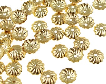 72 Gold Bead Caps 7mm Plated Gold Beadcaps - 7mm Pleated Dome Caps - Gold Plated Metal Beads (FS100)