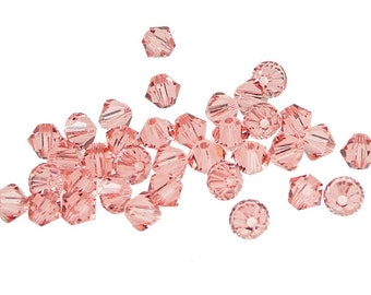 48 Rose Peach 4mm Bicones Swarovski Crystal Beads Article 5301 5328 Pink Peach Beads 4mm Beads Swarovski Beads Swarovski Bicones