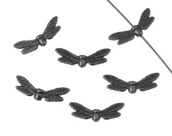 Dragonfly Wing Beads Gunmetal Beads Black Oxide Insect Wings TierraCast Pewter Dragonfly Beads (PB20)