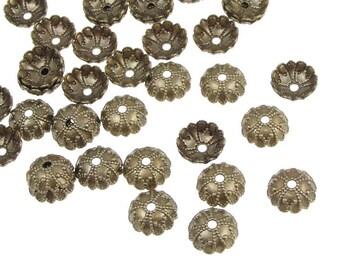 48 Antique Brass Bead Caps Brass Oxide 7mm Antique Bronze Beadcaps Brass Vintage Style Ornate Fancy Brass Beadcaps (FSAB98)
