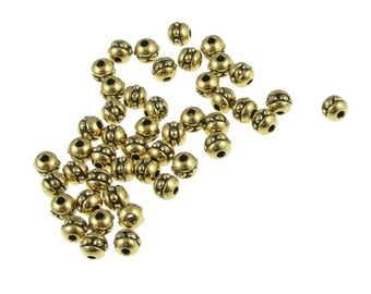 50 Gold Beads 3mm 8/0 Beaded Seed Beads TierraCast Antique Gold Spacers Heishi Beads (PS356)