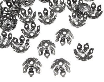 48 Gunmetal Bead Caps - 9mm Open Filigree Bumpy Petal Dome Gun Metal Beadcaps - Black Oxide Metal Beads (FSGM119)