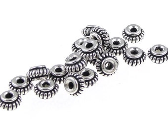20 Silver Beads 5mm Coil Antique Silver Heishi Beads Bali Style TierraCast Silver Spacers (PS372)