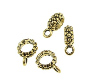 TierraCast JOY BAIL - Kumihimo Bail - Antique Gold Pendant Bail - Large Hole Bails for Kumihimo Findings Supplies Necklace Bail (PF344)