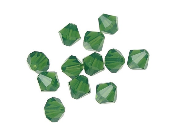 12 PALACE GREEN OPAL 6mm Swarovski Crystal Elements Bicones - Article 5301 5328 - 6mm Bicone Beads - Green Beads