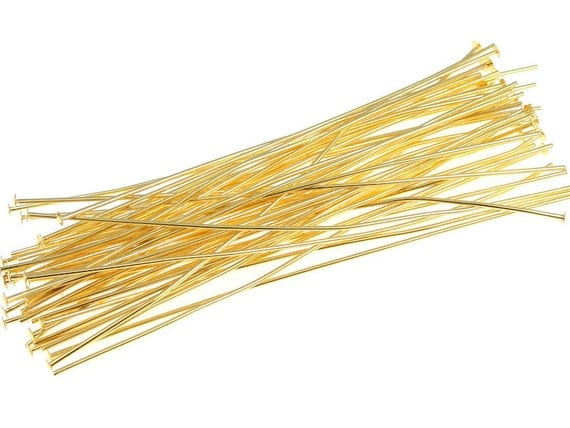 """3"""" Gold Headpin Findings 50 Gold Head Pin 21 G 3 Inch Headpins 21 Gauge Long Headpins Plated Gold Findings Jewelry Findings (FS114)"""