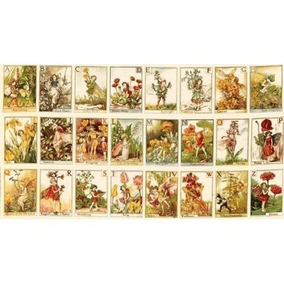 Flower Fairy Alphabet Cicely Mary Barker Fabric Panel
