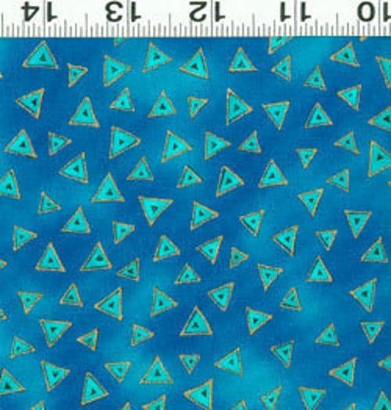Laurel Burch Basic Dark Aqua Triangles with Gold Fabric 1 Yard