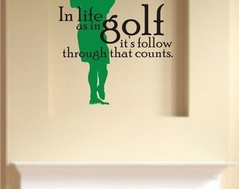 Golf Wall Decal - Life As In Golf Vinyl Wall Stickers Word Art