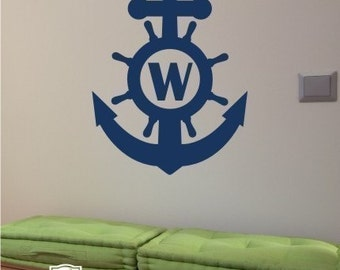 Wall Decals Anchor Monogram - Vinyl Text Wall Words Stickers Art