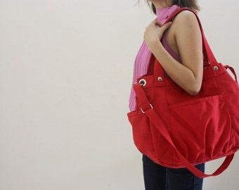Anna in Red, Canvas messenger bag , mom diaper bag , women School bag, c ross body purse ,shoulder bag ,Gift for her - New Year Sale 30%