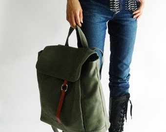 TANYA Olive Green Canvas Backpack ,Unisex Satchel Rucksack , Laptop Bag ,Tote, Leather Diaper bag , School bag / Christmas in July 25% SALE