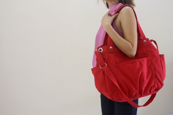 SALE SALE SALE  20% Sale -  // Anna in Red // messenger / diaper bag / School bag / Purse / tote bag / women / For her