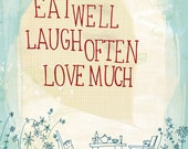 Eat Well fine art print - a Sweet William illustration on archival paper Small and Medium size