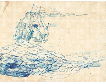 high seas fine art print - a Sweet William illustration on archival paper.  Small and Medium size
