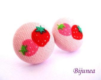 Strawberry earrings- Pink strawberry stud earrings - Strawberry posts - Satrwberry studs - Strawberry post earrings sf571