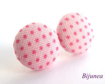 Polka dot earrings - Pink polka dot studs - Polka dot stud earrings - Polka dot posts - Pink polka dot post earrings sf776